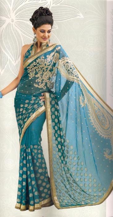 blue and gold designer saree