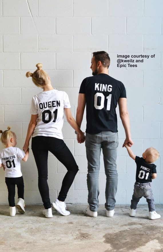This set includes two adult t-shirts and two kids t-shirts/onesies. * PLEASE INCLUDE THE KIDS SHIRTS COLORS AND SIZES IN THE NOTES OF YOUR PURCHASE,