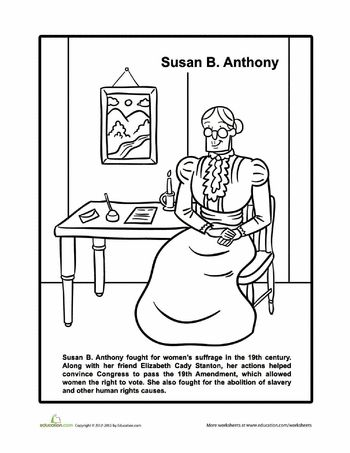 Worksheets: Susan B. Anthony Coloring Page