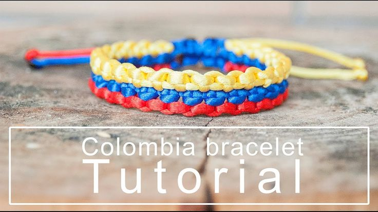 Colombia flag knotted bracelet | Tutorial