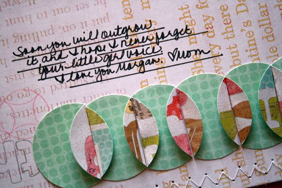 punch circles out of doublesided paper -- fold edge and line up to make a border -- nice way to use scraps: The Gap, Studio Calico, Punch Circles, Folding Circles, Scrapbook Circles Border, Studios Calico, Scrapbook Idea, Cool Idea, Circles Punch