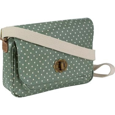 This mini saddle bag is great for those who like to travel light. The compact design is made from durable oilcloth and features our classic Mini Dot print with leather details, it has a front pocket and small internal pocket too. The strap is fully adjustable so it can be worn across the body or as a shoulder bag. Available in sage green and light grey.