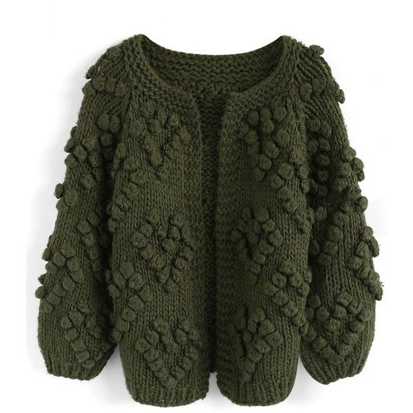 Chicwish Knit Your Love Cardigan in Army Green (£47) ❤ liked on Polyvore featuring tops, cardigans, green, olive top, green knit cardigan, cardigan top, olive green cardigan and olive cardigan