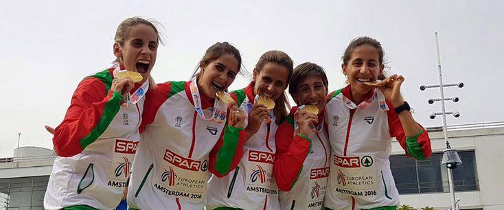 Três medalhas individuais (2 Ouro, 1 Prata, 2 Bronze) e uma medalha por equipas (Ouro) foi o resultado do Campeonato da Europa de Atletismo, que se realizou em Amesterdão, Holanda, para a seleção nacional.  Na prova da Meia-Maratona que se disputou hoje, Portugal brilhou com três medalhas e v