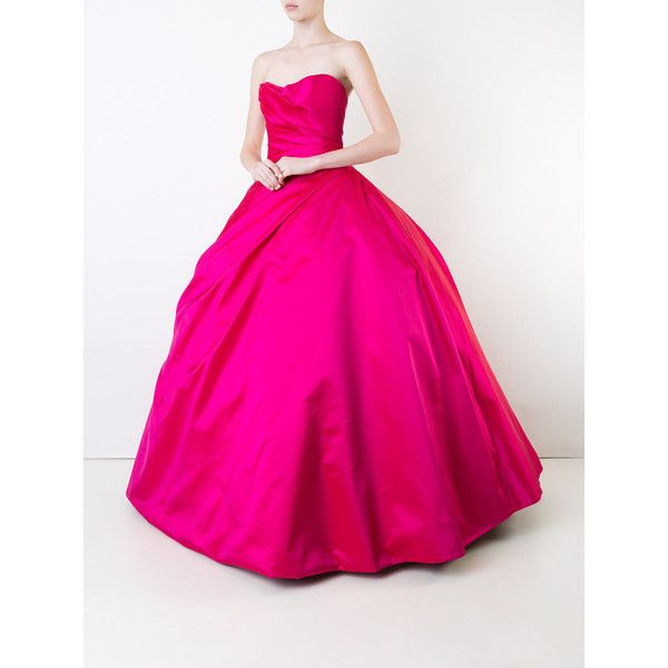 Romona Keveza strapless ball gown ($16,455) ❤ liked on Polyvore featuring dresses, gowns, pink cocktail dress, pink ball gown, pink evening gowns, evening gowns and pink evening dress