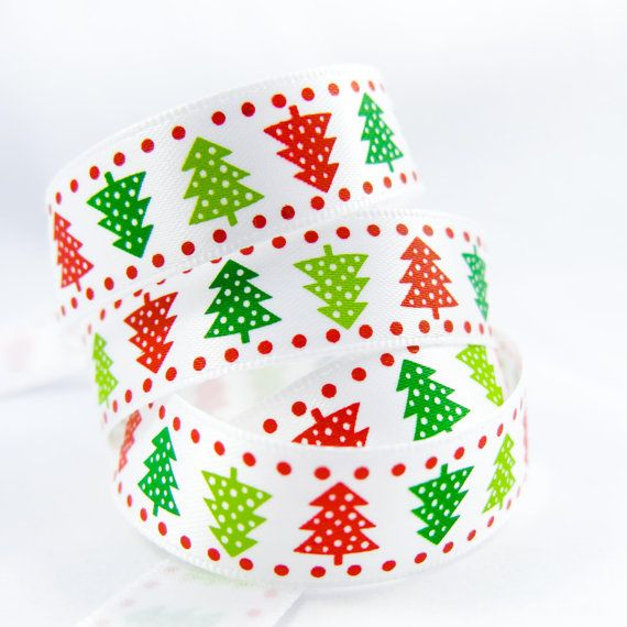 Winter Fabric Ribbon. Snow Season Christmas by TheCabochonMarket