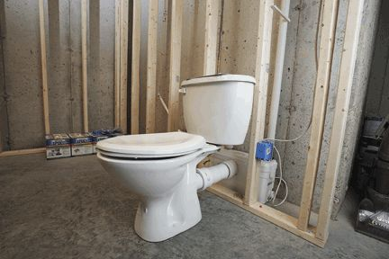 Install a bathroom anywhere construction how to pinterest basements basement bathroom for Bathroom in basement without breaking concrete