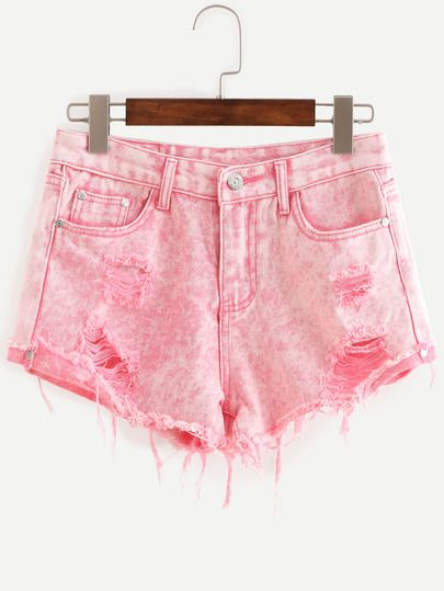 Shorts rotos denim -rosa