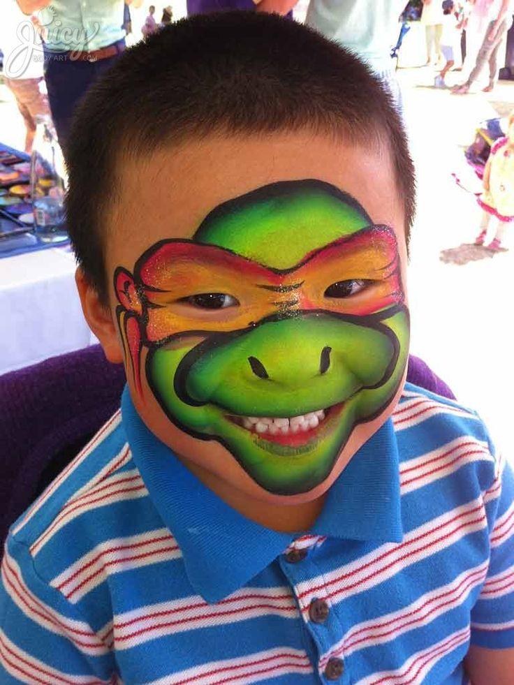 One Stroke ninja turtle face painting by Susanne Daoud at www.JuicyBodyArt.com #ninjaturtle #TMNT #facepainting