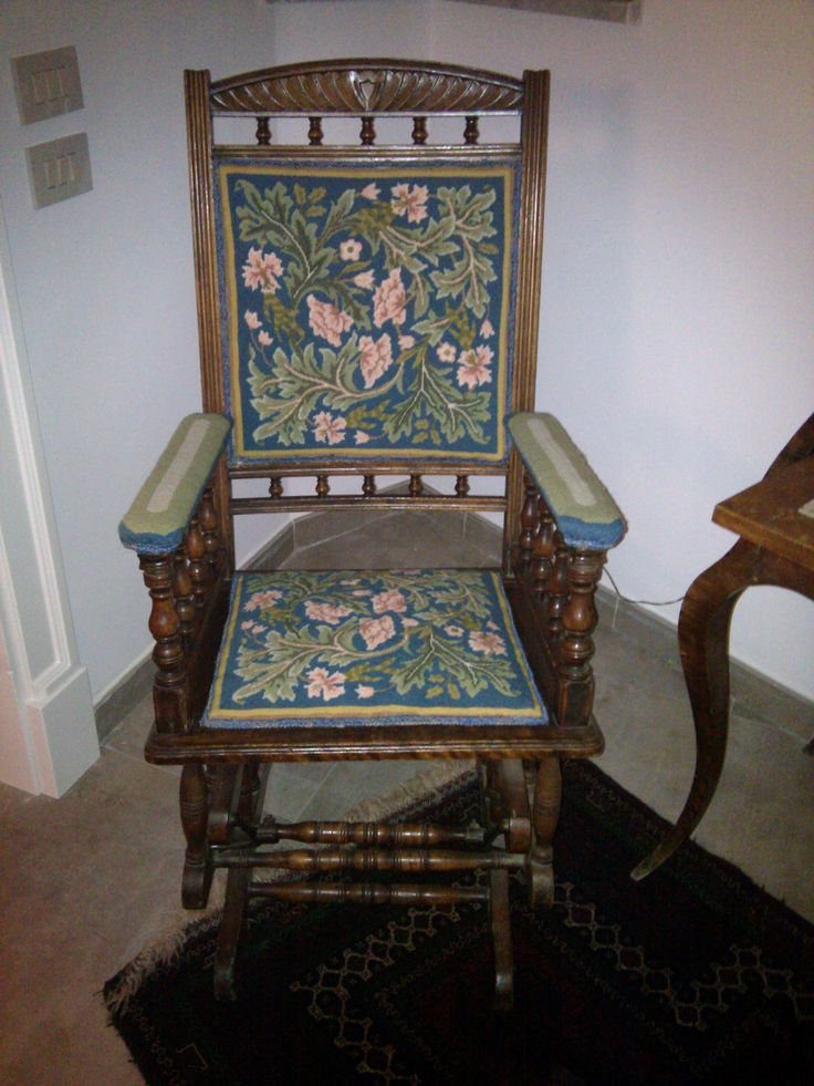 """Maria Adele Cipolla sent us this picture of a chair covered with 2 Acanthus cushion kits.   """"My husband ordered for me two beautiful Acanthus cushions to stitch with William Morris' design. Now I would be pleased to show you the finished work and already mounted on an old English chair. I was very satisfied with your service."""""""
