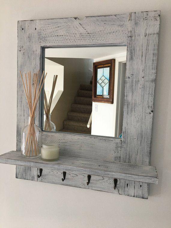 f0d66dc3a8e Rustic Entrance Mirror Rustic wood Framed Mirror Shabby Chic