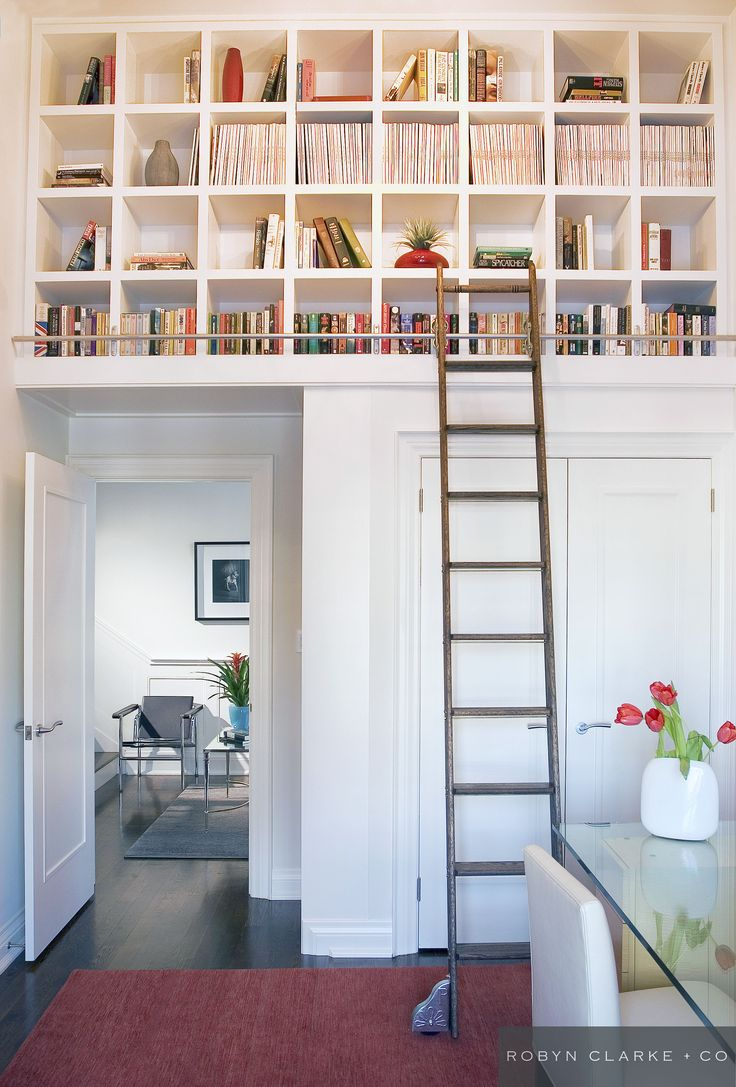 Robyn Clarke + Co Interior Design | Cricket Club Residence | Toronto |  Classic contemporary custom bookshelves, ladder, home office | Office  Spaces ... - Robyn Clarke + Co Interior Design Cricket Club Residence
