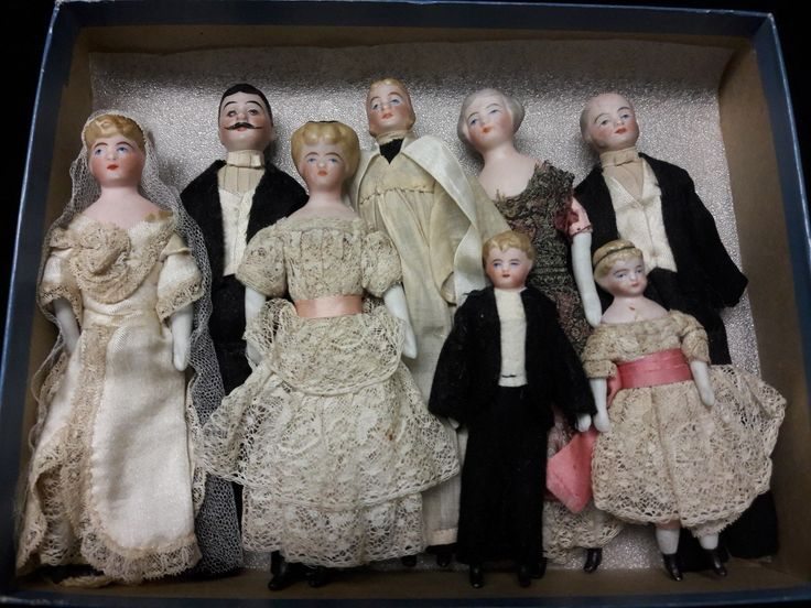 Eight Antique Bisque Doll's House Dolls, All Original Wedding Party | eBay