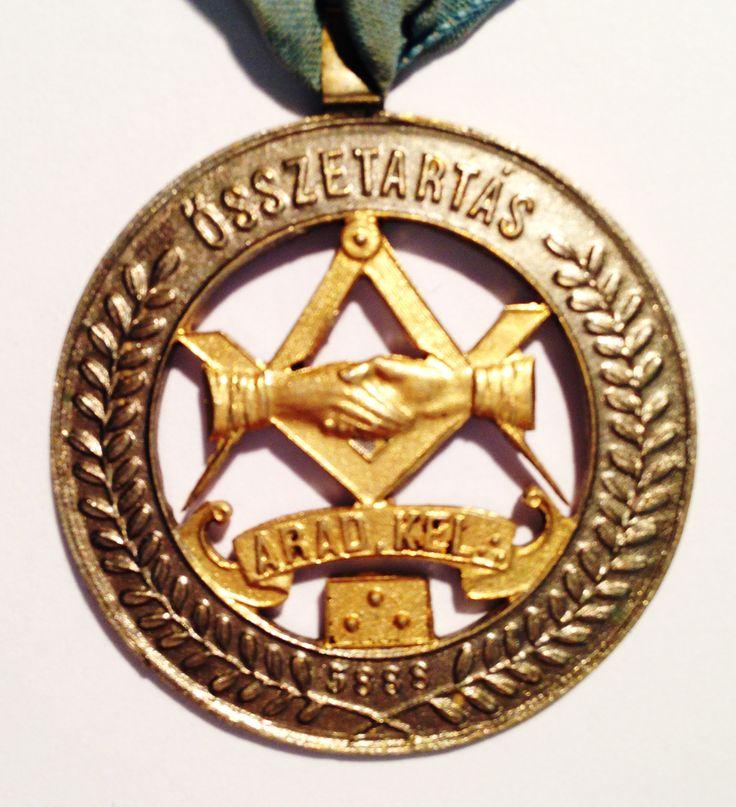 "Masonic medal of Összetartás"" Loge in Arad 1888"