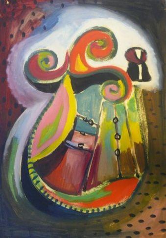 Rozsda Endre: Csigavonalak V. / Volutes V.   n.é. - 41,5x30 cm - olaj, papír I oil on canvas