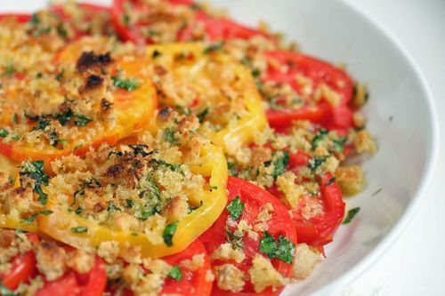 Gratinéed Tomatoes with Asiago and Fresh Herbs: Fresh Herbs, Asiago Side Dishes, Gratine Tomatoes, Parmesan Tomatoes, Fresh Tomatoes, Gratiné Tomatoes, Herbs Recipe, Gratin Tomatoes, Food Recipe