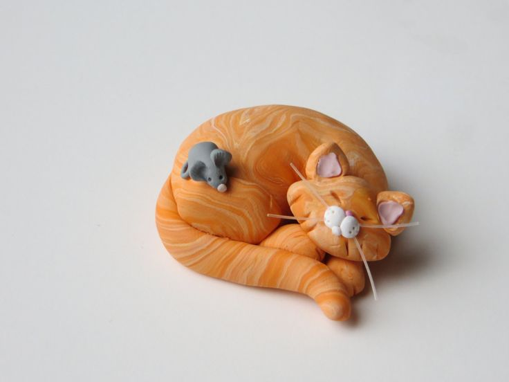 Polymer Clay Orange Tabby Cat  Figurine - inspiration only -  bjl