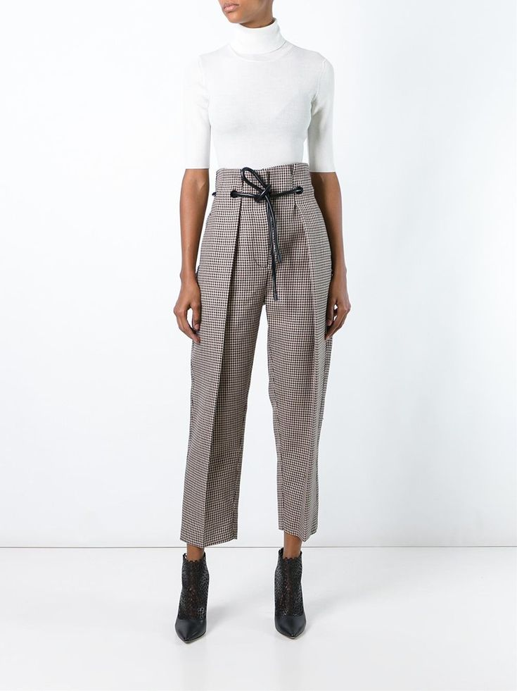 3.1 Phillip Lim origami pleat houndstooth trousers…