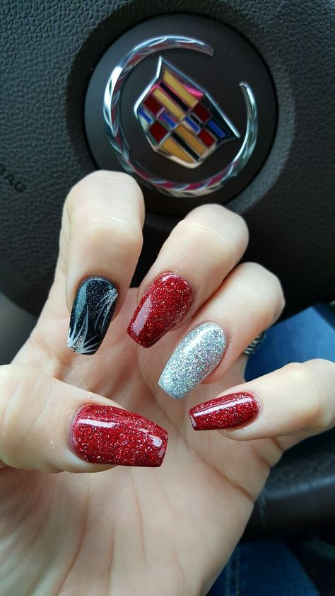 Red Black Silver Coffin Nails Great For Christmas Or Vegas Nails