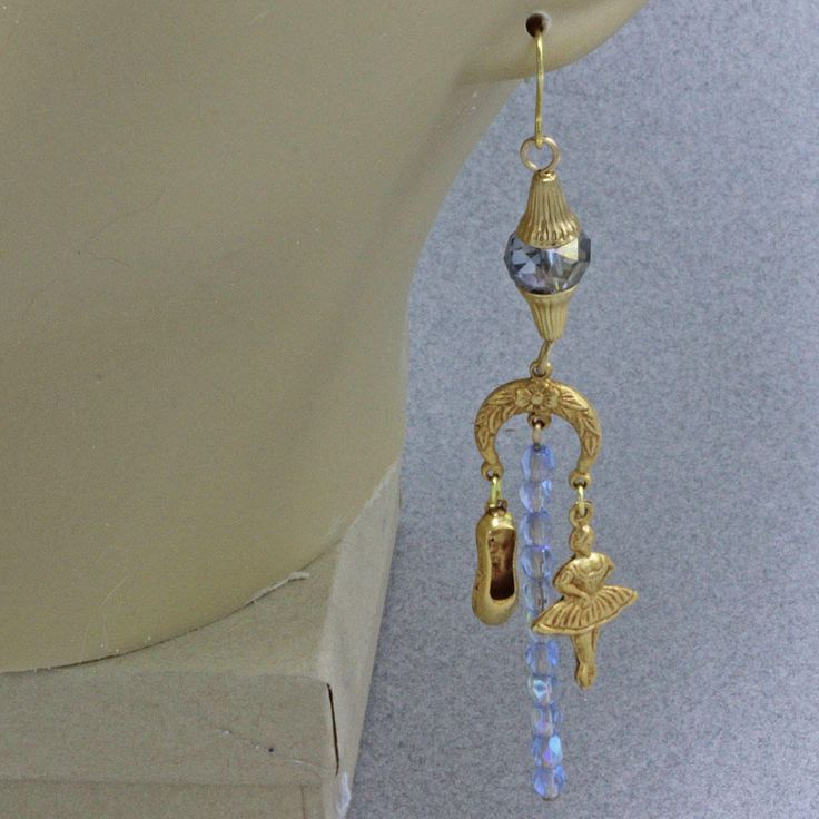 Hand Assembled Earrings Gold Finish Brass Ballerinas And Ballet Shoes Nights At The Ballet Earrings Blue AB Crystal Beads Gold Plated Hooks by oscarcrow on Etsy