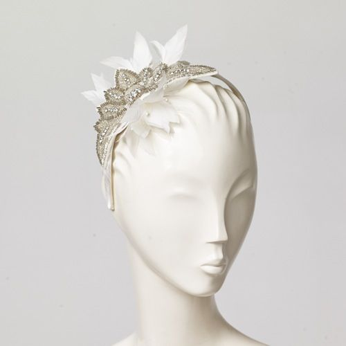 Angelica   Alice band with silver embroidery and feather flowers   Misa Harada London   Spring/Summer 2014