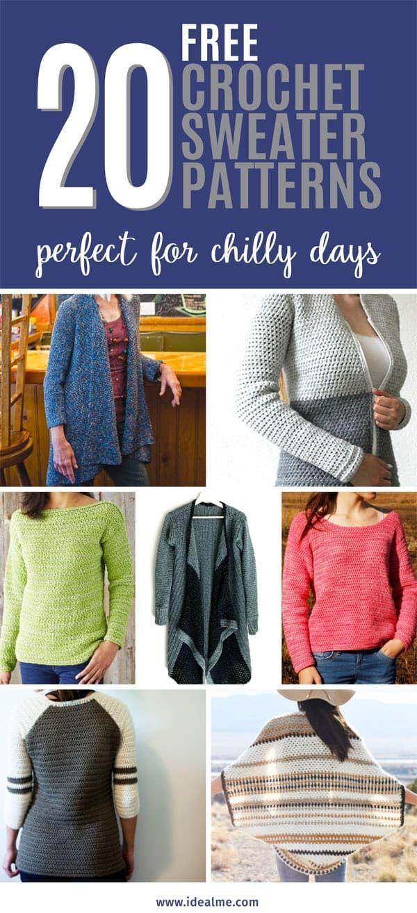 20 Crochet Sweater Patterns Crotchet Pinterest Crochet