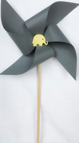 Pinwheels - yellow and grey, elephants, buttons, girl baby shower,  1st first birthday party, decorations, favors