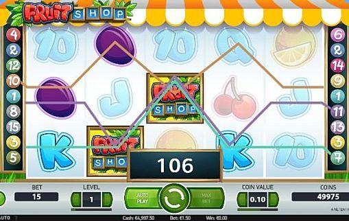 Игровой автомат Fruit Shop на реальные деньги  В игровом аппарате Fruit Shop компания NetEnt использовала привычную фруктовую тематику. Этот автомат получил 15 линий и дикий знак. Выгоднее играть в него на реальные деньги помогают регулярные фриспины.