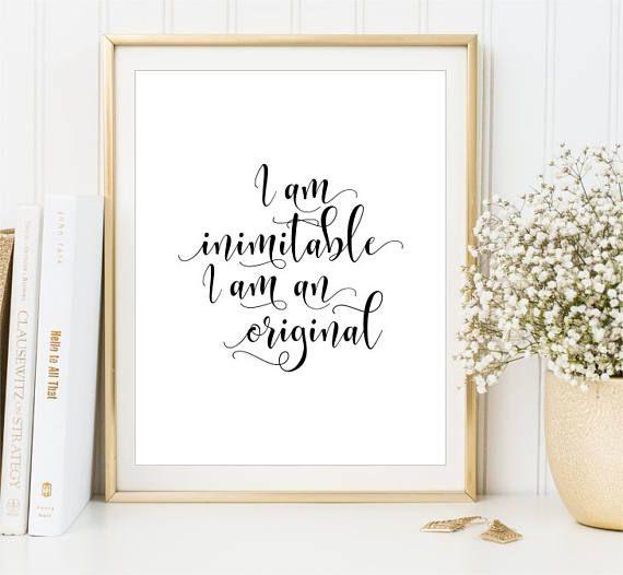 Hamilton Quote I am inimitable I am an original Wall Art
