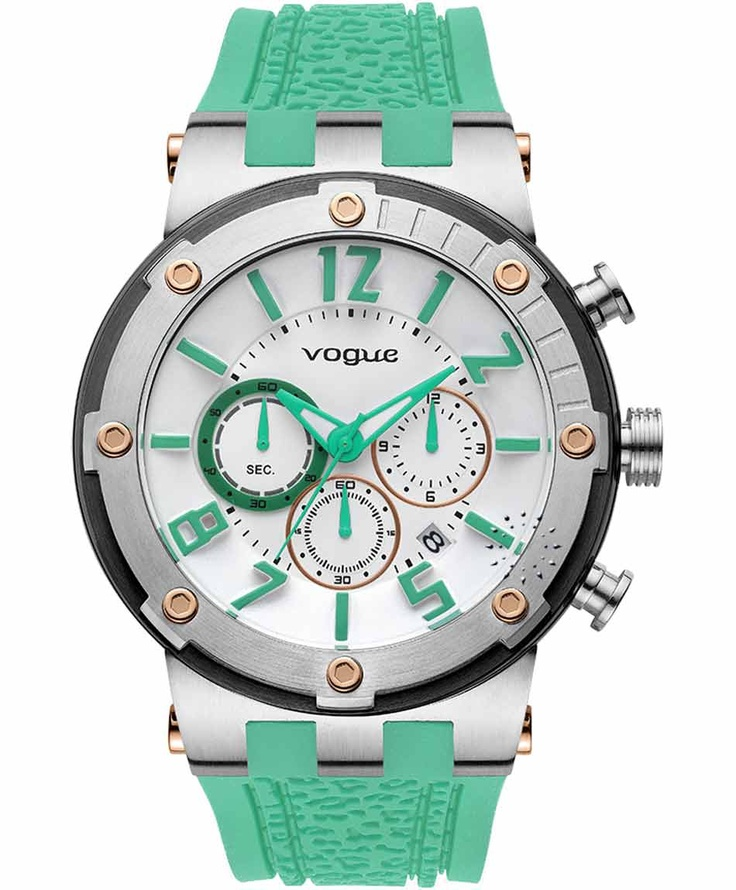 VOGUE Feeling Chrono Green Rubber Strap  215€  Αγοράστε το εδώ: http://www.oroloi.gr/product_info.php?products_id=31620