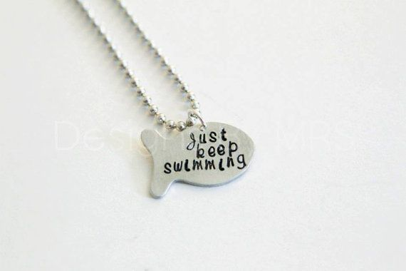 Just Keep Swimming - Hand Stamped Fish Shape Pendant - Cursive or Block Font op Etsy, 9,24€
