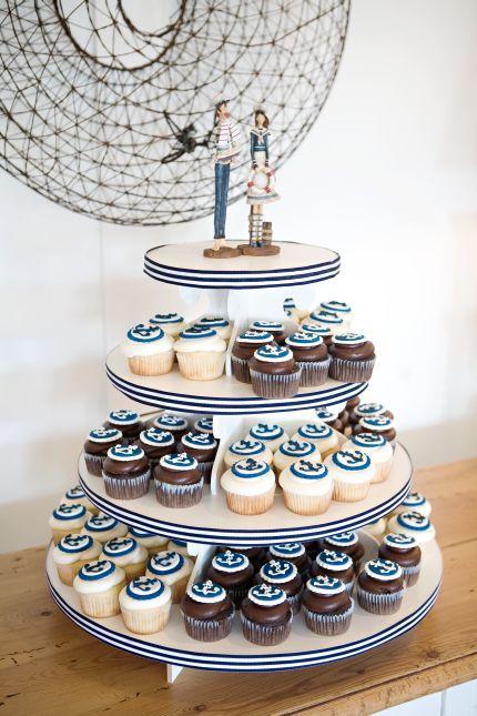 add small cake on top nautical wedding cupcake - Google Search