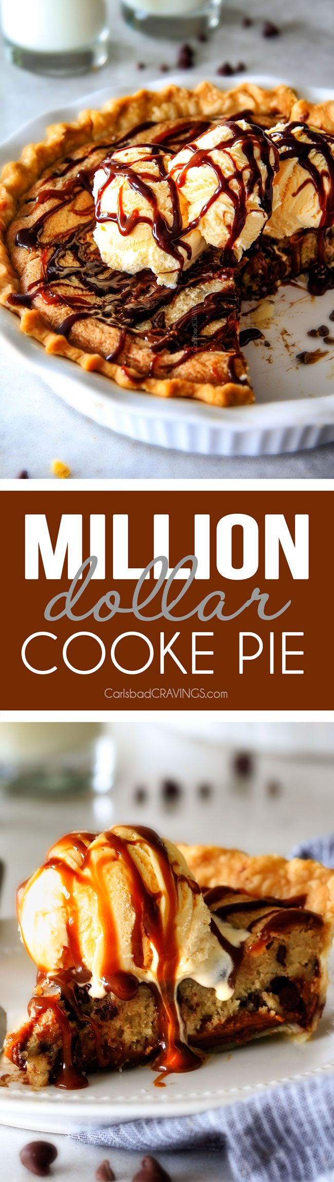 make ahead Million Dollar Cookie Pie layered with Nutella, Dulce de Leche and cookie dough! This is hands down the best skillet cookie I've ever made and its always such a crowd pleaser!