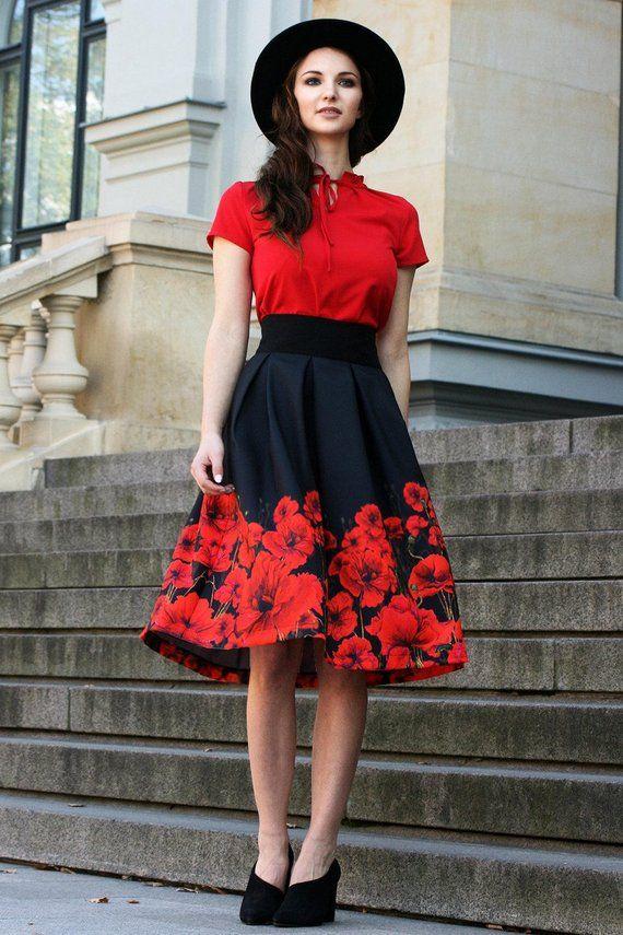 a5b8eb0f59 Black Floral Skirt, Red Flower Skirt, Floral Midi Skirt, Women Flared Skirt,  High Waist Skirt, Plus