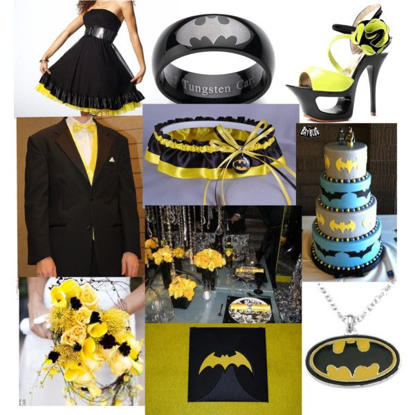 Batman wedding :) - Polyvore-- If my middle son ever gets married..this will be his theme!