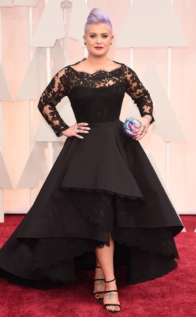 2015 Oscar Celebrity Dresses Kelly Osbourne Long Sleeve Plus Size Hi-Lo Black Red Carpet Gowns Formal Evening Gowns OS06 from Bridal_mall,$160.21 | DHgate.com