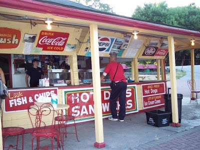 Day Tripping Ontario: French's Hot Dog Stand in Couchiching Beach Park. Ice cream after a walk along the lake side board walk.