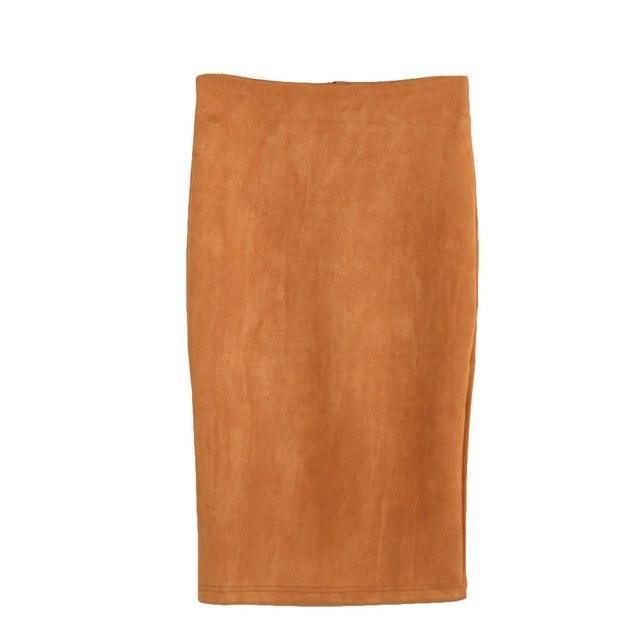 2019 Solid Color Pencil Split Suede High Waist Package Hip Knee-Length Skirt Jupe Femme Harajuku Faldas #C Khaki L