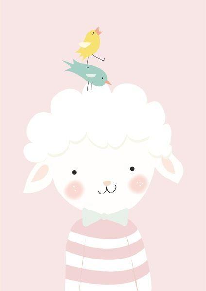 Poster Lammetje A4. Een poster in zacht roze met een lammetje. Leuk om te gebruiken als muurdecoratie in een meisjeskamer. Ook verkrijgbaar als ansichtkaart.