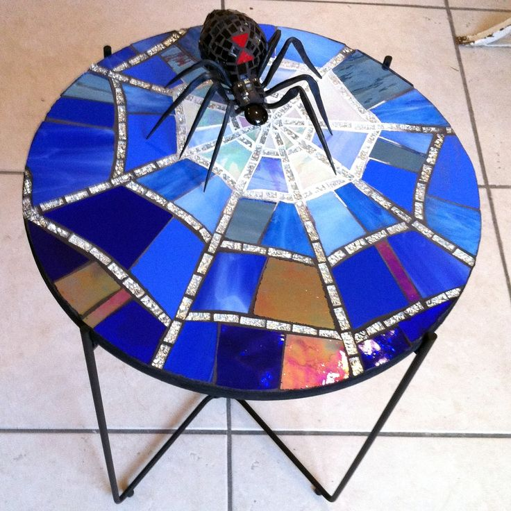 Mosaic Table with Black Widow Spider