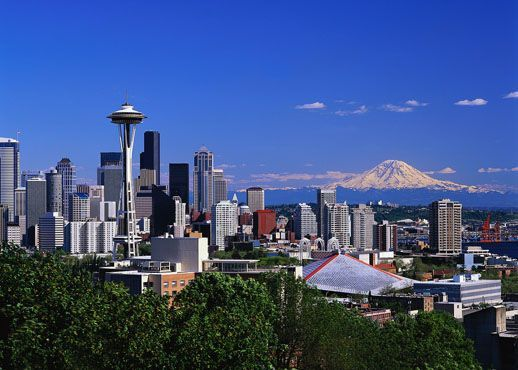 Seattle, Washington with Mt. Ranier in the background.