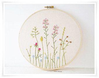 Japanese Wild Flower Garden Hand Embroidery in hoop wall art