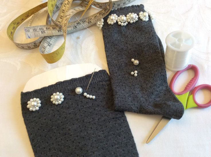 Making of the Faux Pearl embellished socks