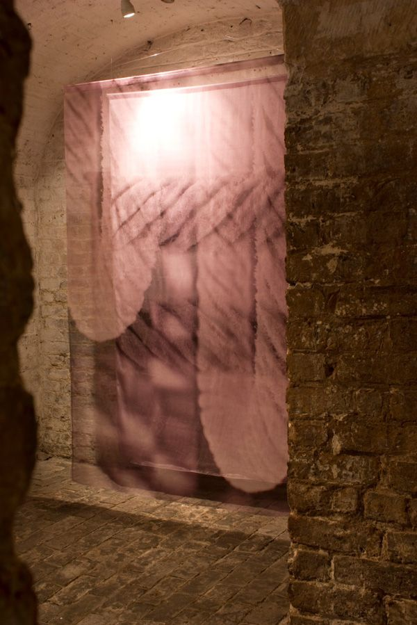 Catherine Dormor, Caress II, 2011, 200 x 400 x 30cm, digital print on silk satin and silk organza