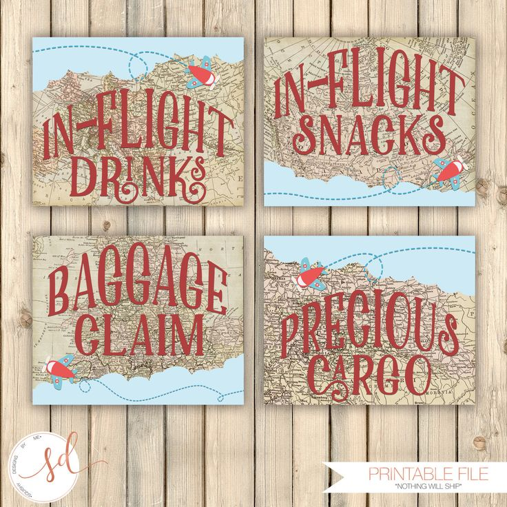 Vintage Travel Birthday Party Signs, In-Flight Drinks, Snacks, Baggage Claim, Precious Cargo, Around the World, Baby Shower Decor, Digital by SquishyDesignsbyMe on Etsy