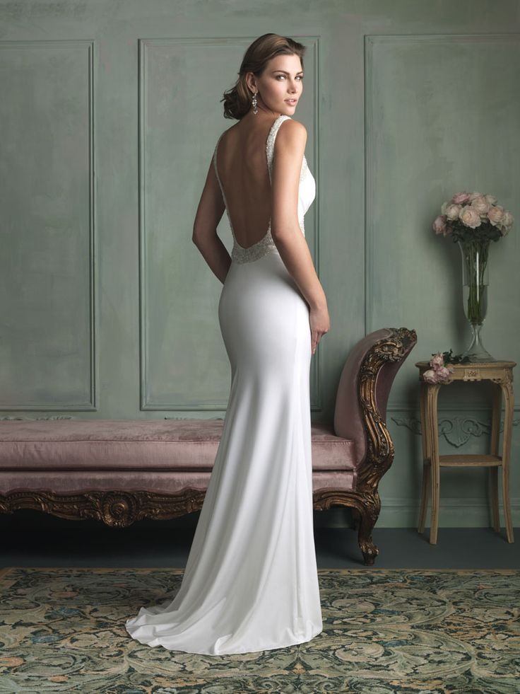 Allure Bridals 9102 - A classic, sleek silhouette, featuring intricate beading and a truly dramatic back—it is a nod to Old Hollywood glamour.  Brides of Melbourne | Sleek and Slinky | Bridal Gown
