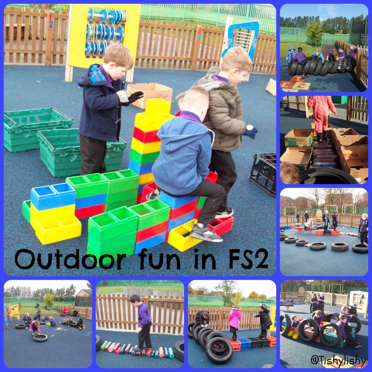 FS2 having fun with bricks, tyres, bottle babies and boxes.