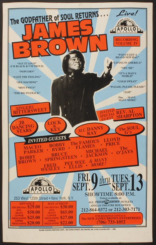 James Brown Poster | James Brown Live at the Apollo Concert Poster