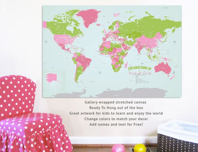 Love this ready-to-hang map canvas from @urbantickle, which can be customized to match your child's room or playroom!Canvas Maps, Canvas Art, Travel Artworks, 32X48 Travel, 24X36 Travel, Ready To Hanging Maps, World Maps Canvas, Playrooms, Canvases