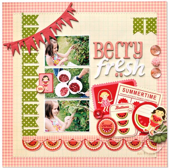 Berry Fresh #layout by Amy Heller for @pinkpaislee #scrapbooking